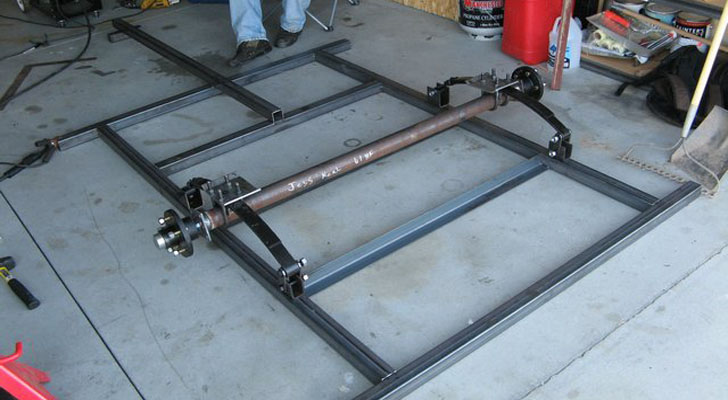 custom steel frame with 2 inch tubing and a 3500 axel