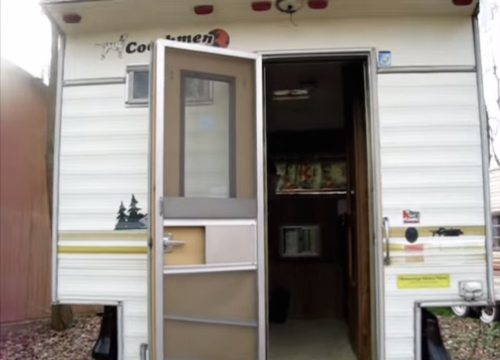 Entrance to a truck camper
