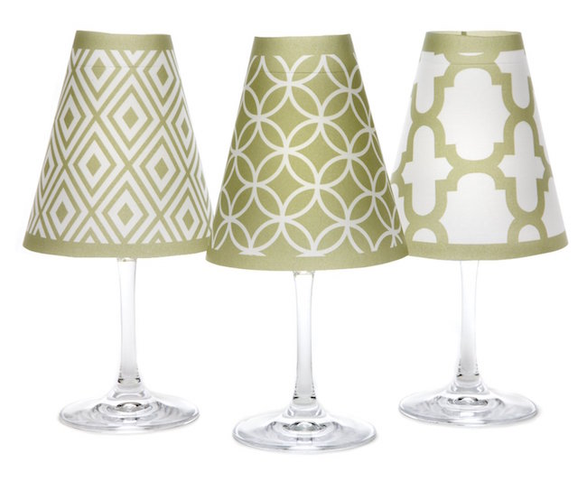 Green wine glass lampshades