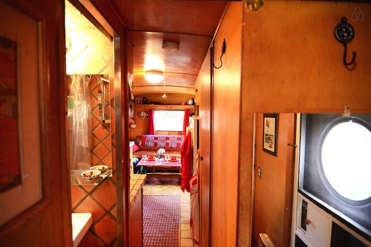 Hallway in retro camper