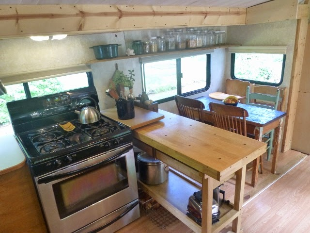 Kitchen in converted trailer