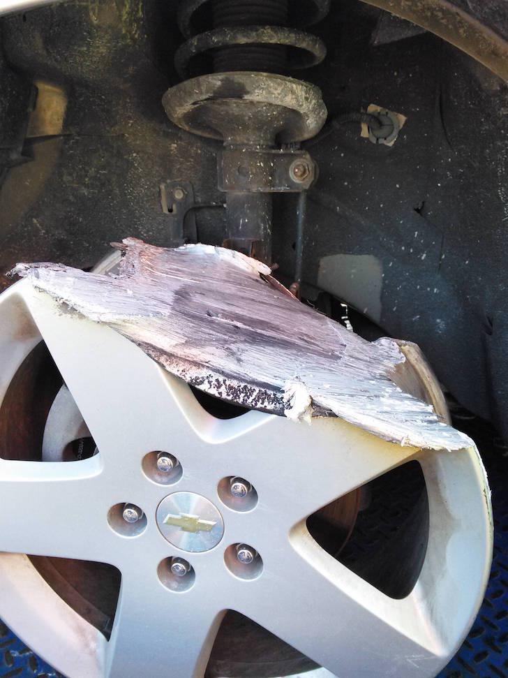 Melted wheel rim