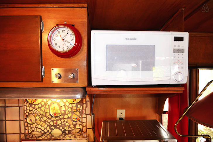 Microwave and old cabinet