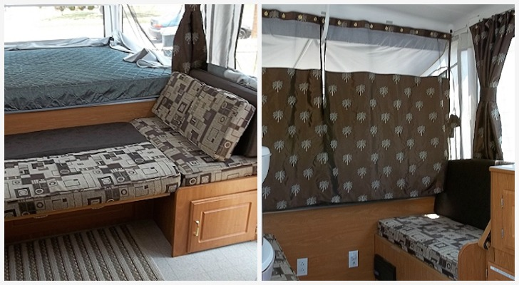 Reupholstering Cushions And Replacing Curtains In Her Pop Up Camper Made All The Difference