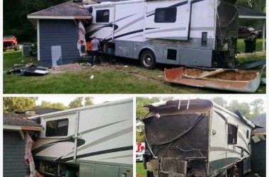 This Motorhome Blew A Tire And Rammed Into A House