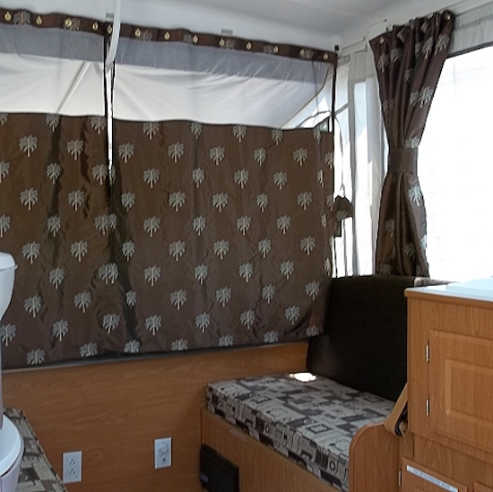 Replaced curtains in tent camper