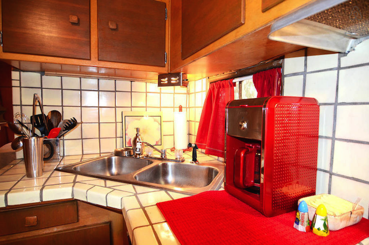 Residential kitchen in vintage trailer