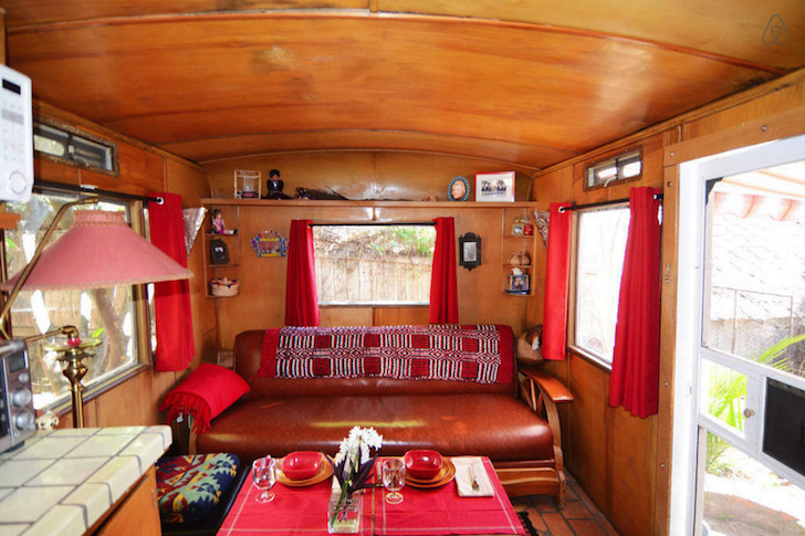 Seating area in vintage Prairie Schooner trailer