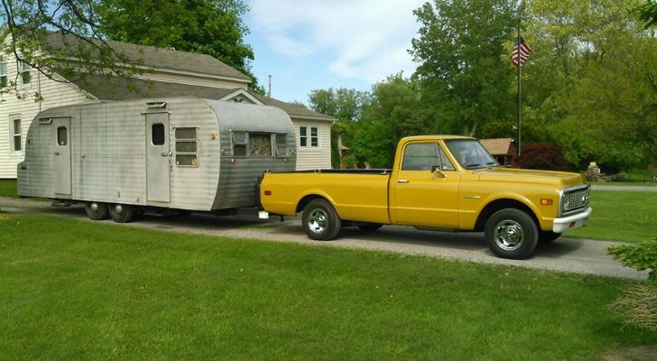 Restored Yellowstone Camper and Chevy Truck
