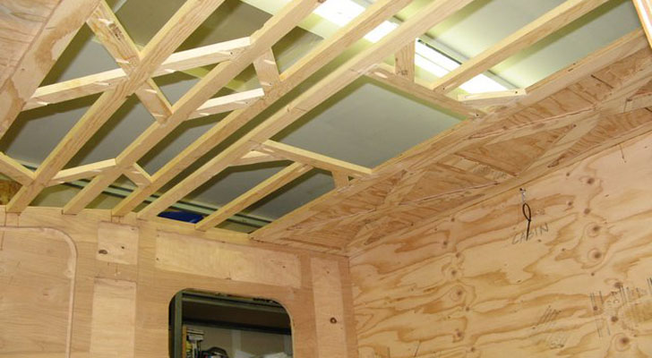 View from Inside Showing Panel Structure and Lumber Roof Frame