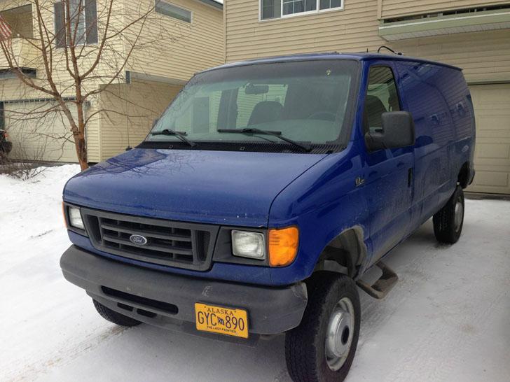blue 4x4 van