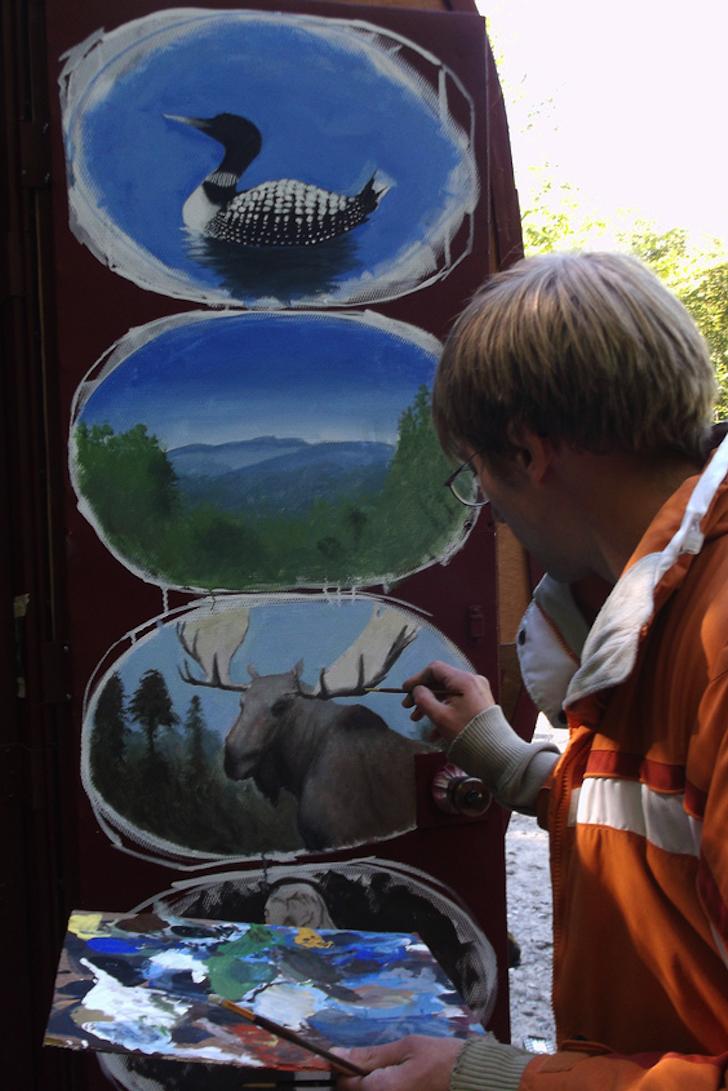 Custom mural on homemade camper