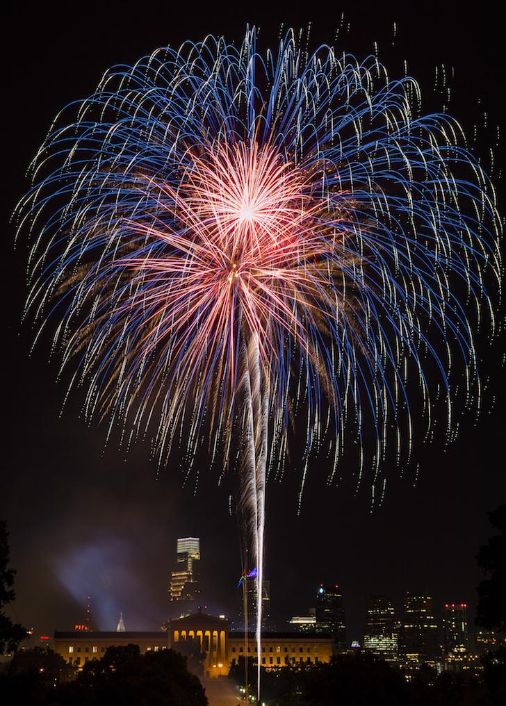 Fireworks over Art Museum in Philadelphia