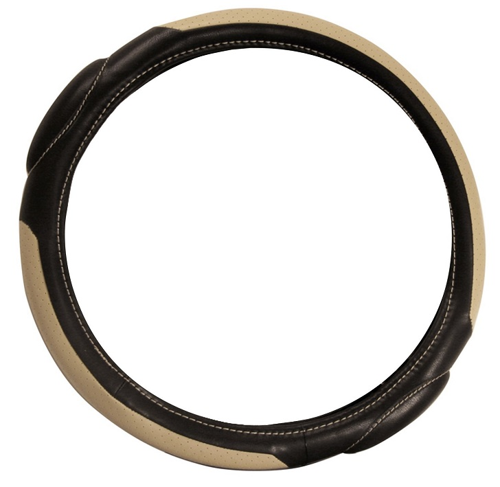 Pilot Automotive SW-68T Racing Style Tan and Black Steering Wheel Cover