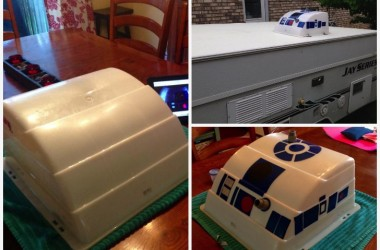 This Star Wars Fan Turned An Air Conditioner Cover On His Pop Up Trailer Into R2-D2