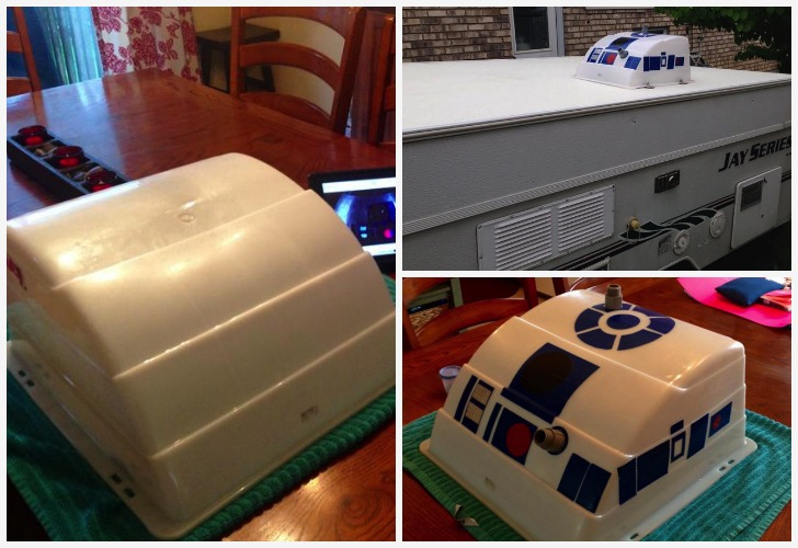 Air Conditioner Fan >> Star Wars Fan Turned An A/C Cover On His Trailer Into R2-D2