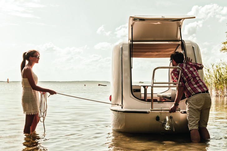 The Sealander camper turns into a boat