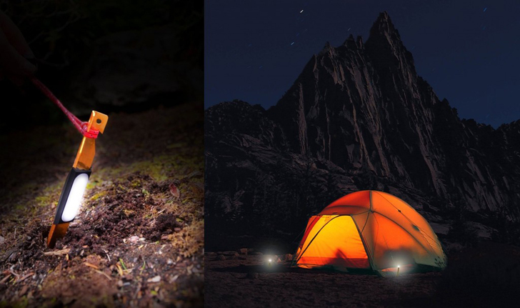 glowing tent pegs