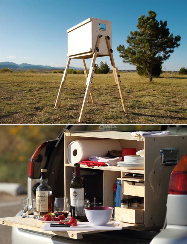 wooden camp kitchen