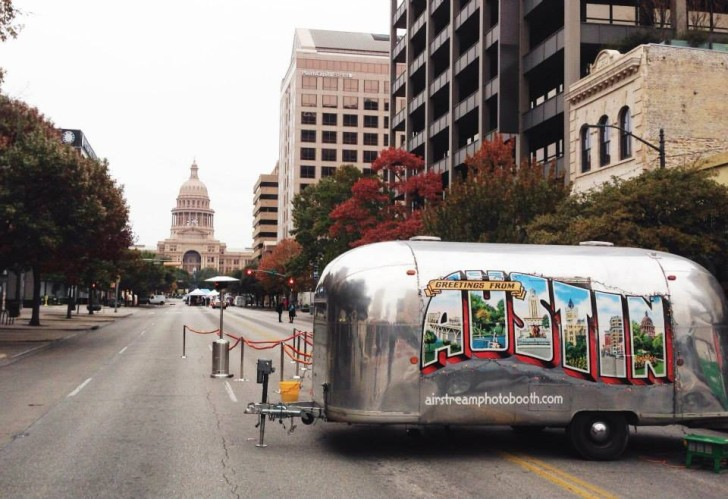 Airstream Photo Booth in front of Capital in Austin, TX