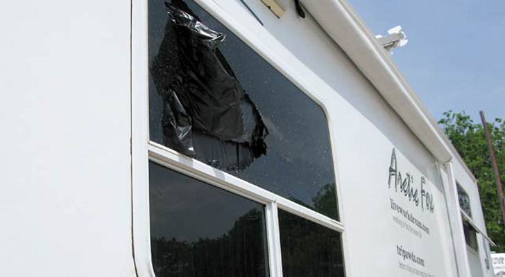 Shattered RV window