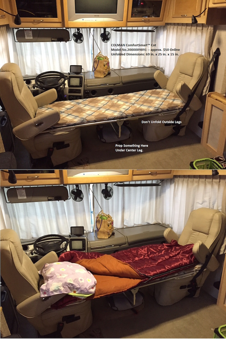 Adding a cot to a Class A motorhome