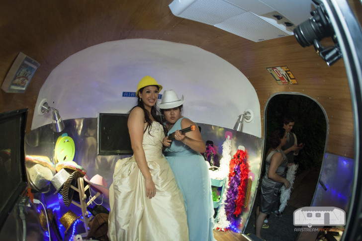 Bride poses in Airstream Photo Booth