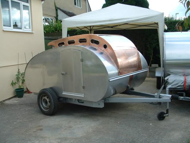 Copper accented teardrop camper