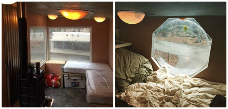 Inside tiny DIY camper
