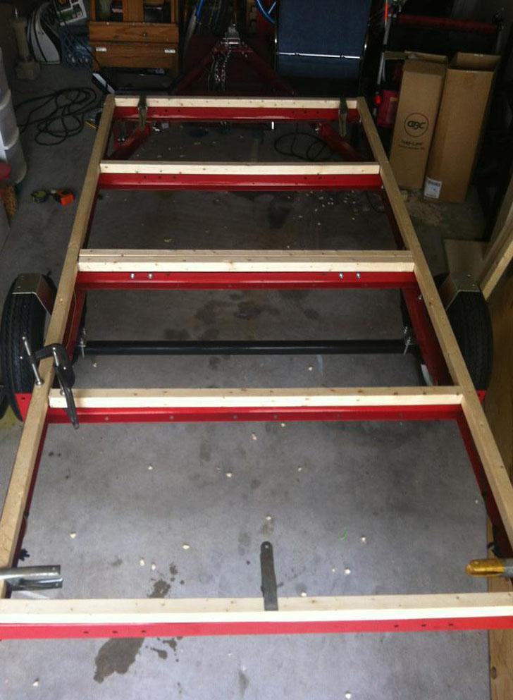 wood frame on trailer base