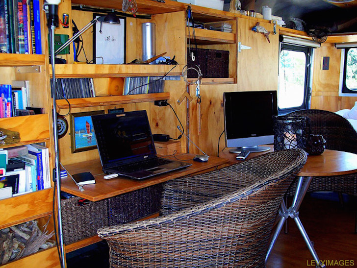 Work area in bus remodel