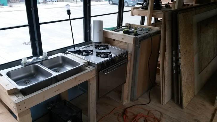 kitchen on one side