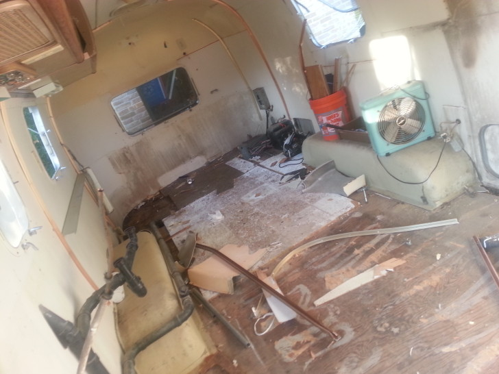 Rotted flooring in an Airstream