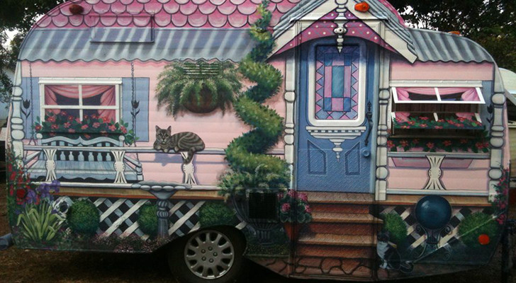 Grandma's Country Cottage Painted As A Mural On Adorable Classic Camper