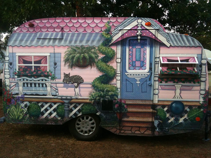 Grandma S Country Cottage Mural On Classic Camper