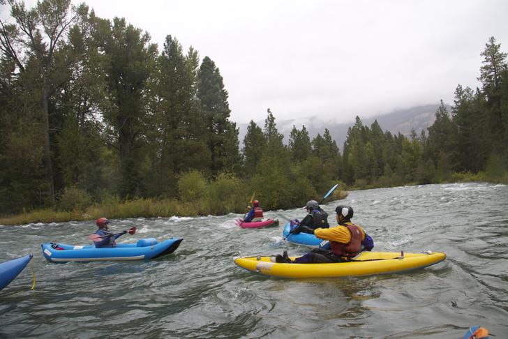 Floating in kayaks