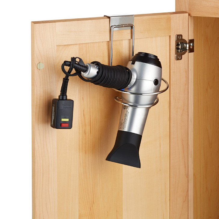 Overcabinet hair dryer holder