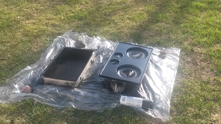 Spray painted stove
