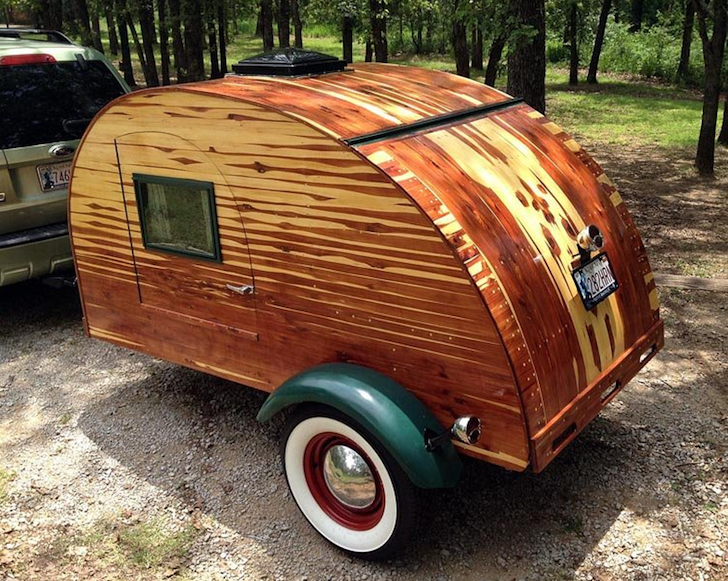 Vintage looking cedar teardrop camper