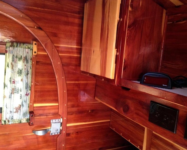 Laminated Cedar Teardrop Trailer Modeled After Vintage Ones