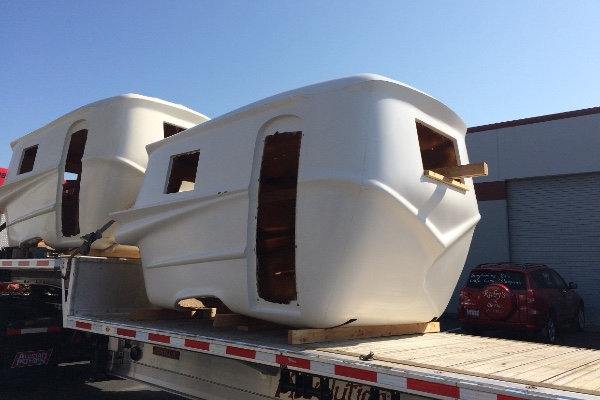 Fiberglass shell construction of Relic Trailer