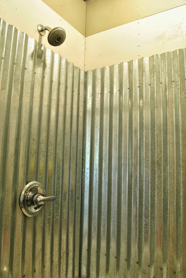 corrugated shower wall