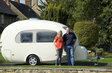This Egg-Shaped Barefoot Caravan Comes With A Bathroom And A (Really Cool) Mini Radio