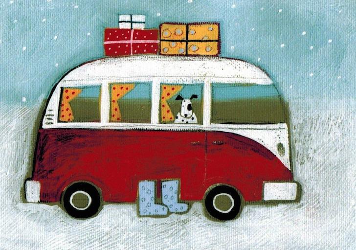 Bull Terrier in VW campervan