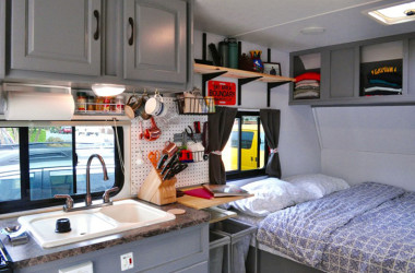 Two Adventurers Are Turning A 10-Year-Old Forest River Surveyor RV Into A Tiny House