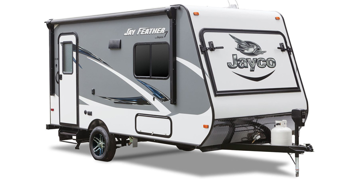 3080-Jay-Feather-7-_0005_JayFeather16XRB_34FrontClosed Jayco Designer Motorhome on slide breakdown, wall construction, class hydraulic lift sys,