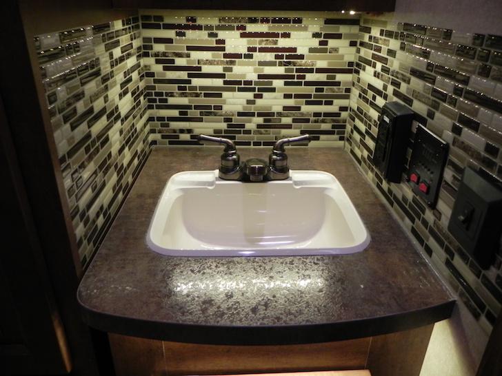 Lightweight tiles in RV bathroom