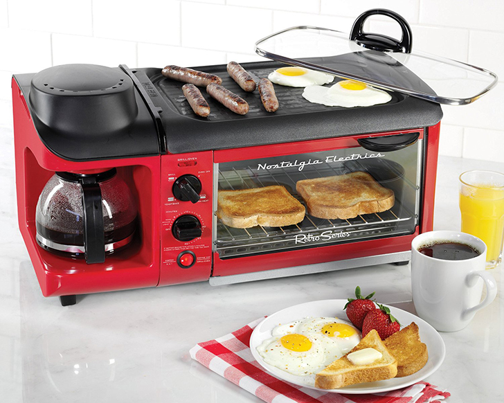 ... includes a covered grill, a 4-cup coffee maker and a toaster oven
