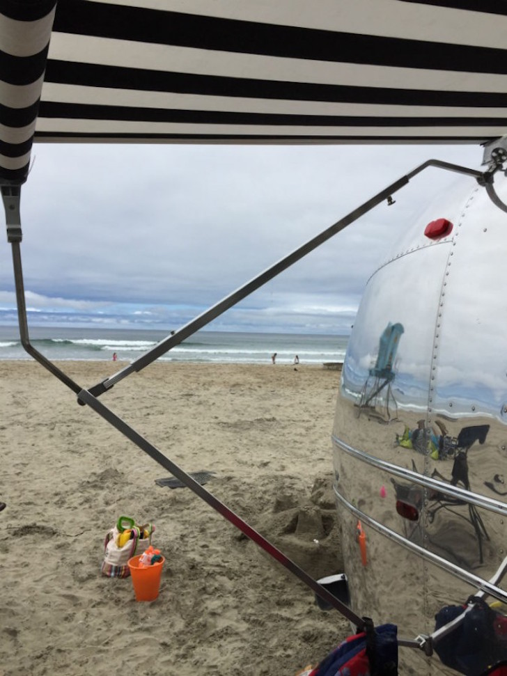 Airstream parked at beach