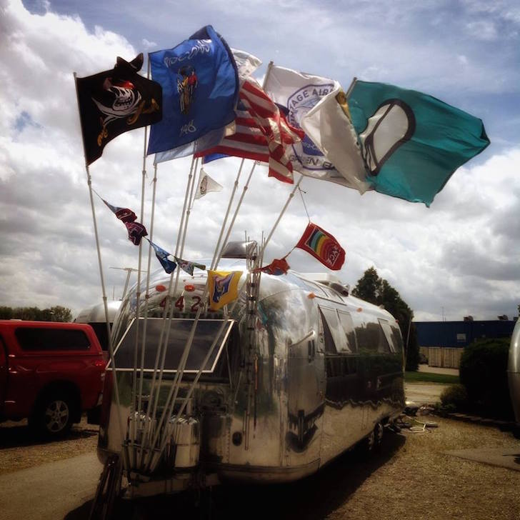 Airstream with flags